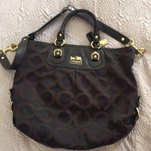 Coach black Big C's satchel handbag purse patent